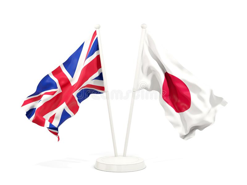 Deux drapeaux de ondulation du R-U et du Japon illustration libre de droits