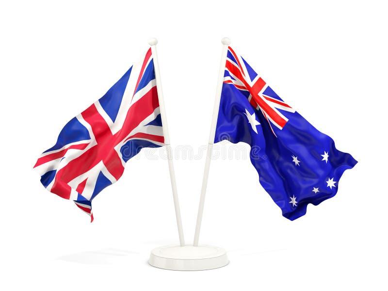 Deux drapeaux de ondulation du R-U et de l'australie illustration libre de droits