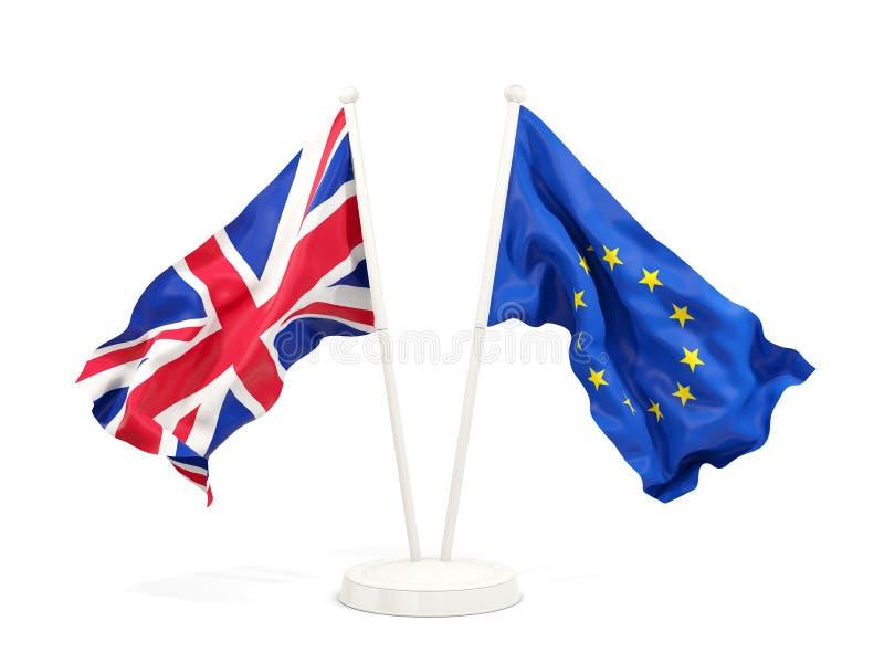 Deux drapeaux de ondulation du R-U et de l'UE illustration libre de droits