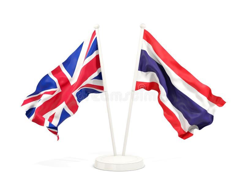 Deux drapeaux de ondulation du R-U et de la Thaïlande illustration de vecteur