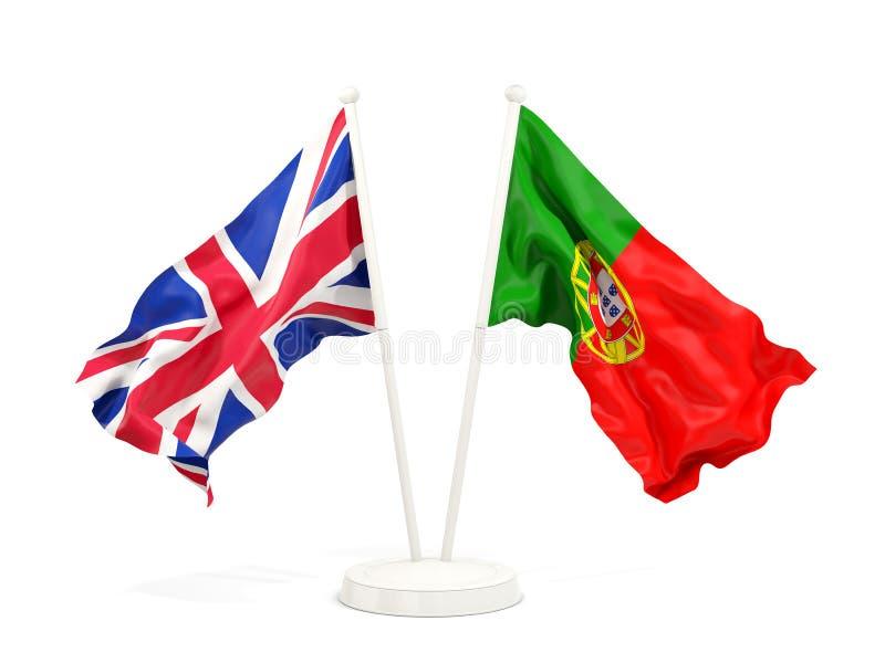Deux drapeaux de ondulation du R-U et du Portugal illustration de vecteur