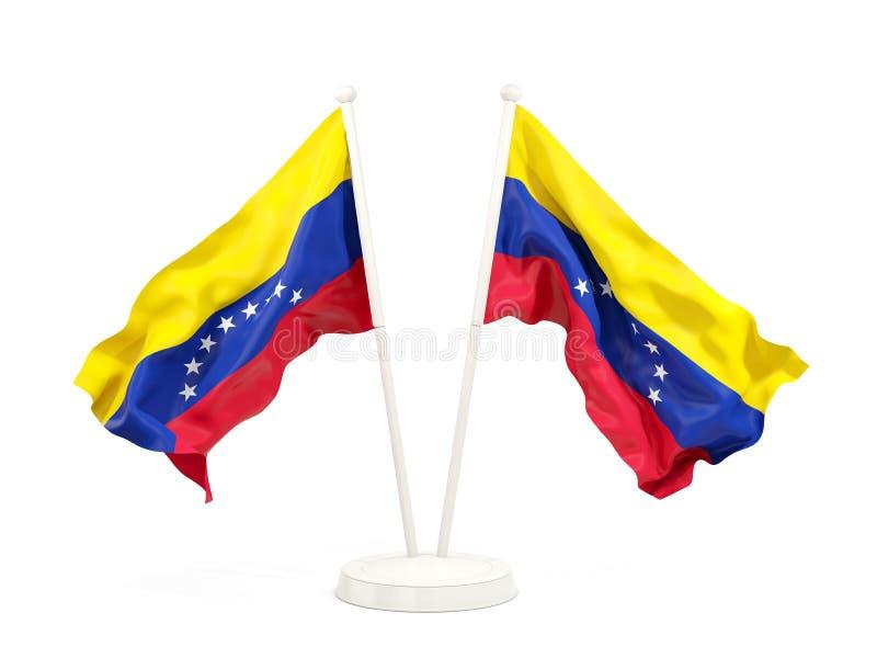 Deux drapeaux de ondulation du Venezuela illustration stock