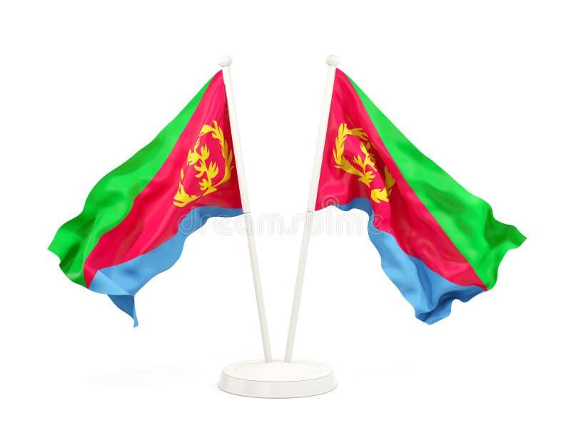 Deux drapeaux de ondulation de l'Érythrée illustration de vecteur