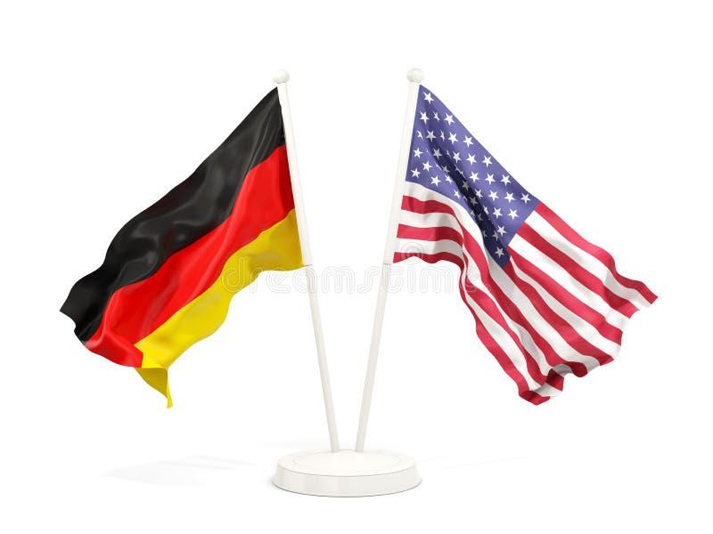 Deux drapeaux de ondulation de l'Allemagne et des Etats-Unis illustration de vecteur