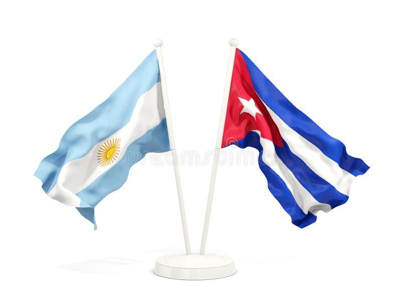 Deux drapeaux de ondulation de l'Argentine et du Cuba d'isolement sur le blanc illustration stock