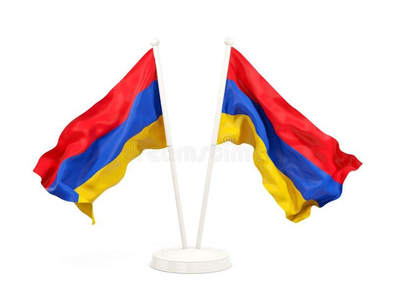 Deux drapeaux de ondulation de l'Arménie illustration stock