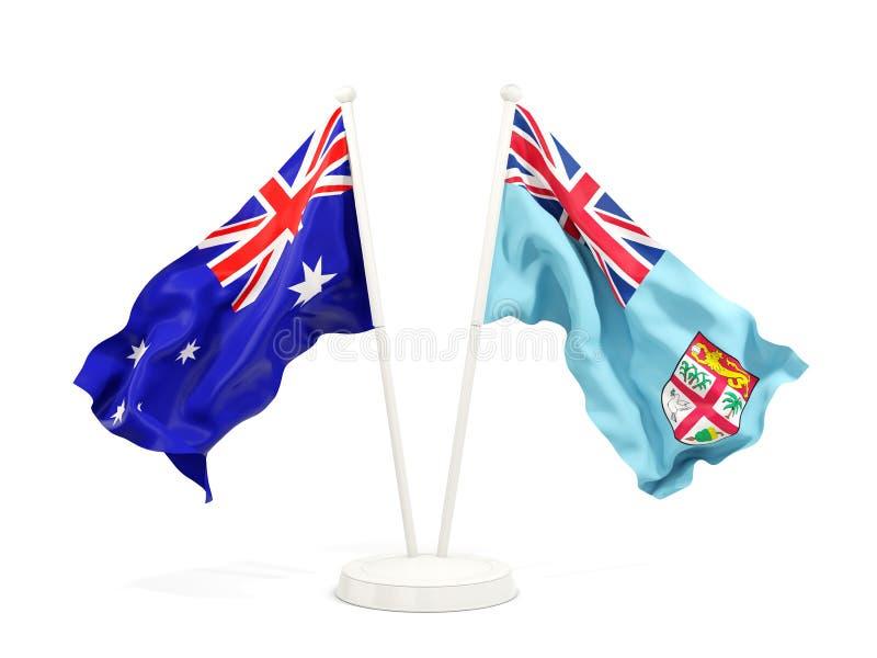 Deux drapeaux de ondulation de l'Australie et du Fiji d'isolement sur le blanc illustration stock