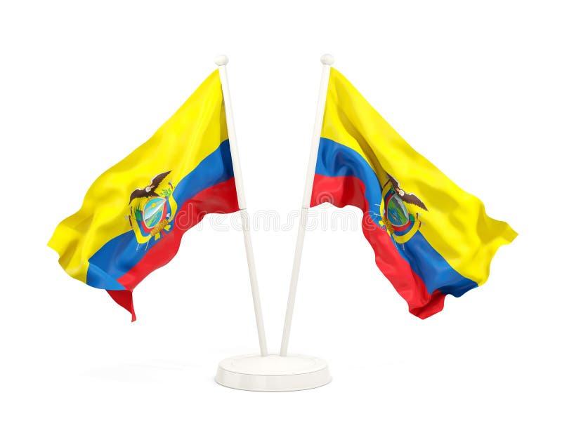 Deux drapeaux de ondulation de l'Equateur illustration stock