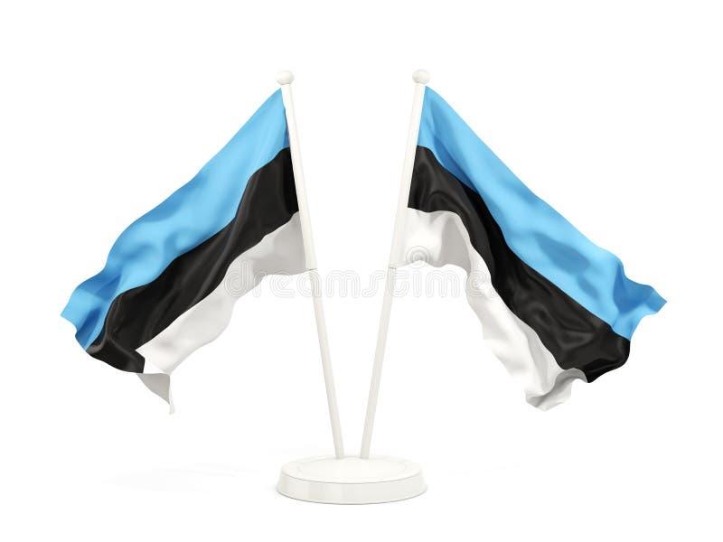 Deux drapeaux de ondulation de l'Estonie illustration de vecteur