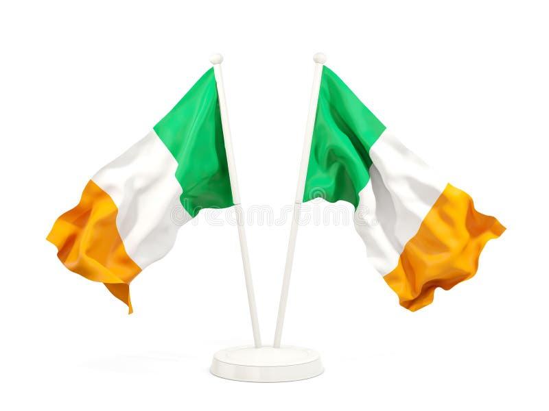 Deux drapeaux de ondulation de l'Irlande illustration de vecteur