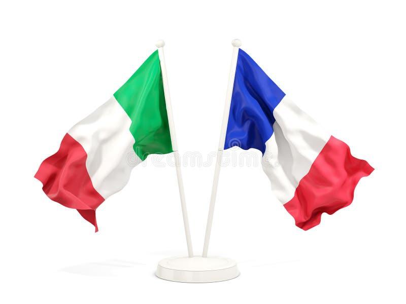Deux drapeaux de ondulation de l'Italie et de la France illustration de vecteur