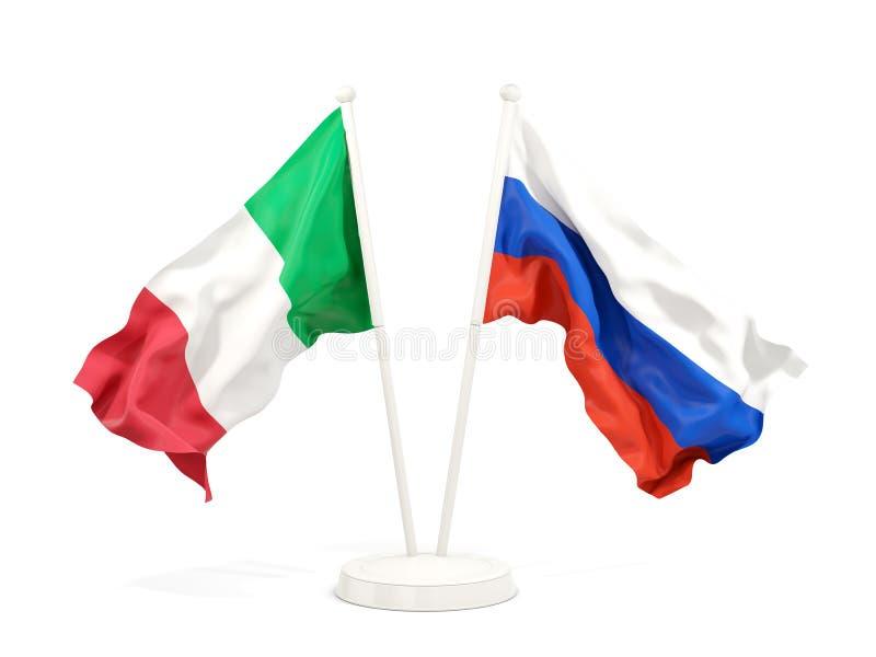 Deux drapeaux de ondulation de l'Italie et de la Russie illustration stock