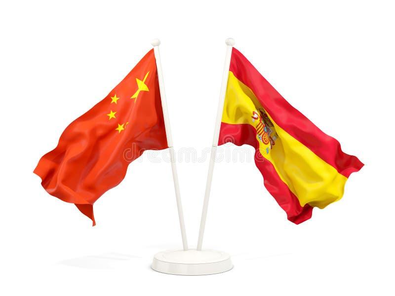 Deux drapeaux de ondulation de la Chine et de l'Espagne illustration stock