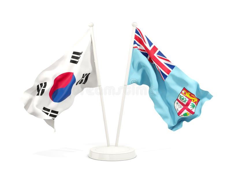 Deux drapeaux de ondulation de la Corée du Sud et du Fiji d'isolement sur le blanc illustration libre de droits