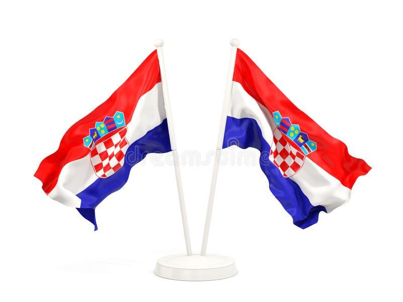 Deux drapeaux de ondulation de la Croatie illustration de vecteur