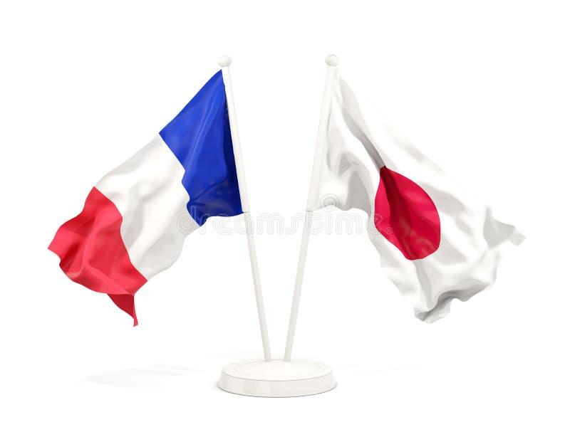 Deux drapeaux de ondulation de la France et du Japon illustration stock