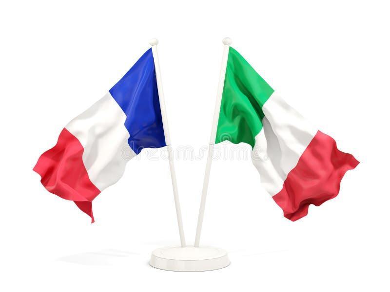 Deux drapeaux de ondulation de la France et de l'Italie illustration stock