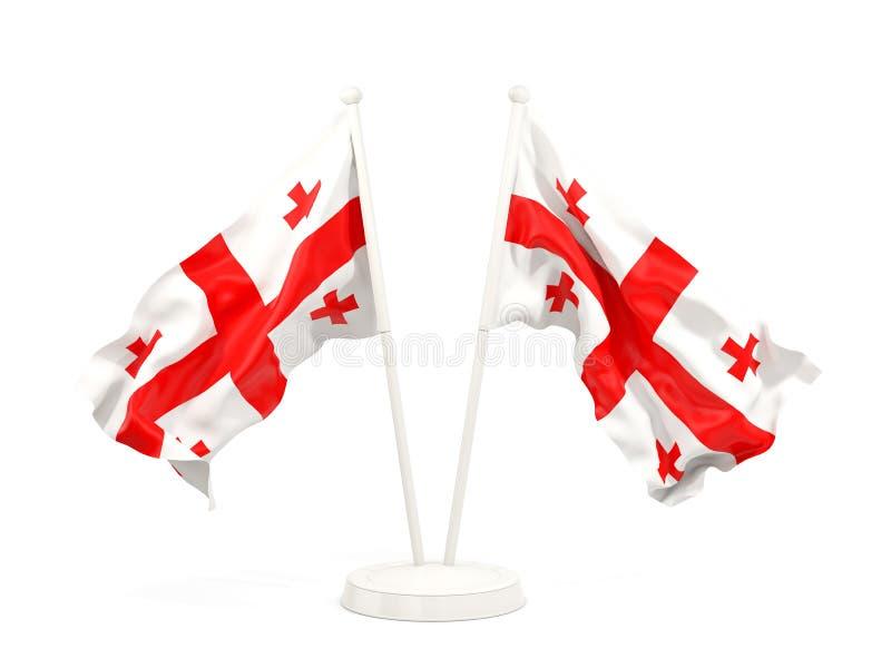Deux drapeaux de ondulation de la Géorgie illustration stock
