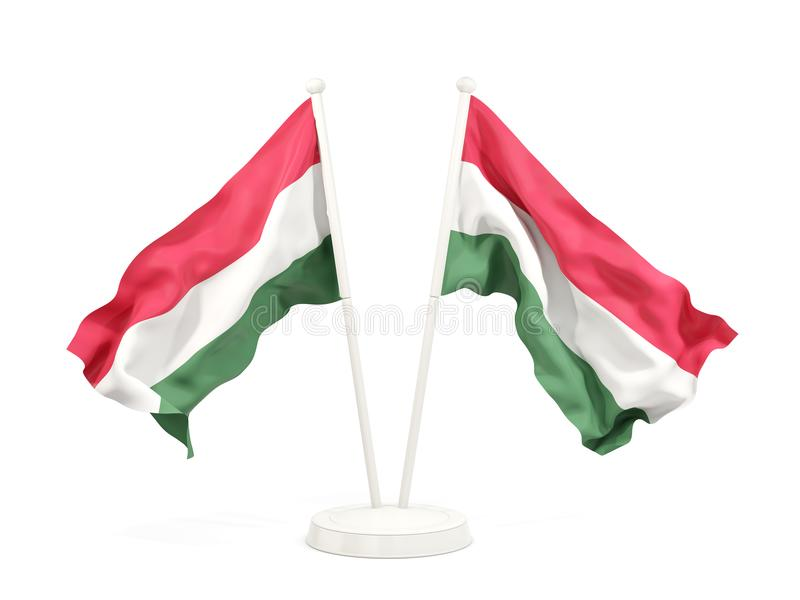 Deux drapeaux de ondulation de la Hongrie illustration libre de droits
