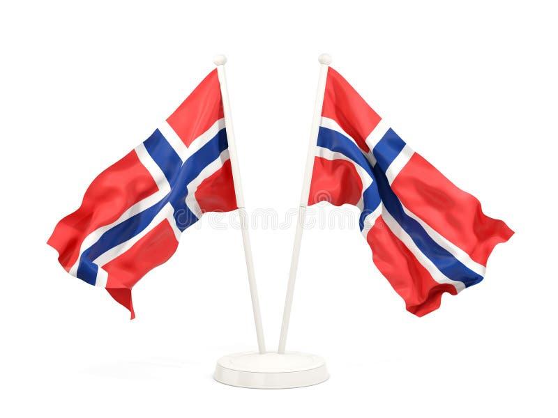 Deux drapeaux de ondulation de la Norvège illustration stock
