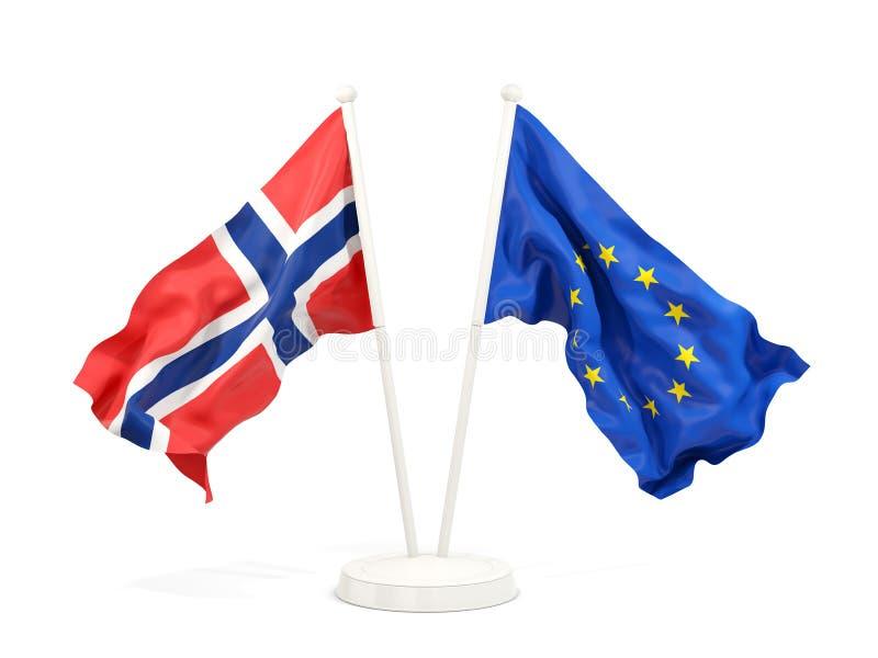 Deux drapeaux de ondulation de la Norvège et de l'UE illustration de vecteur