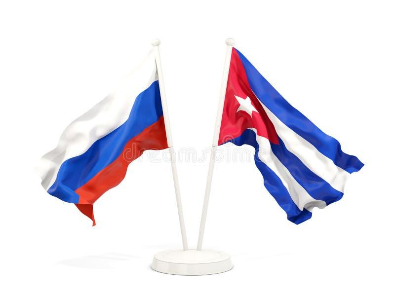 Deux drapeaux de ondulation de la Russie et du Cuba d'isolement sur le blanc illustration libre de droits