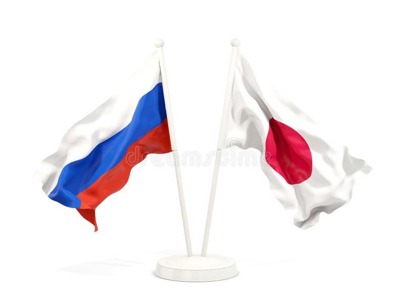 Deux drapeaux de ondulation de la Russie et du Japon illustration de vecteur