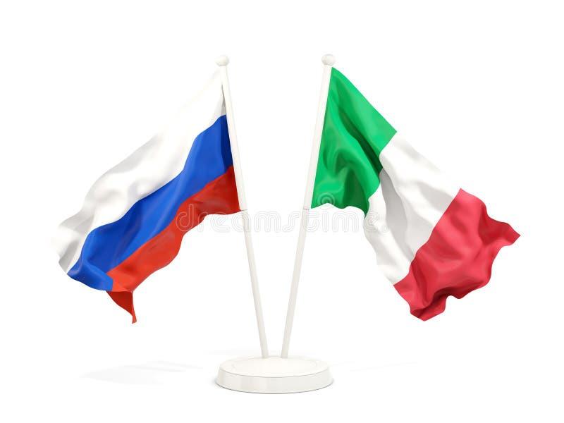 Deux drapeaux de ondulation de la Russie et de l'Italie illustration libre de droits