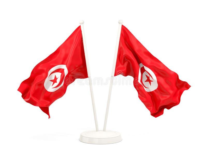Deux drapeaux de ondulation de la Tunisie illustration de vecteur
