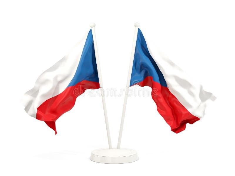 Deux drapeaux de ondulation de République Tchèque illustration libre de droits