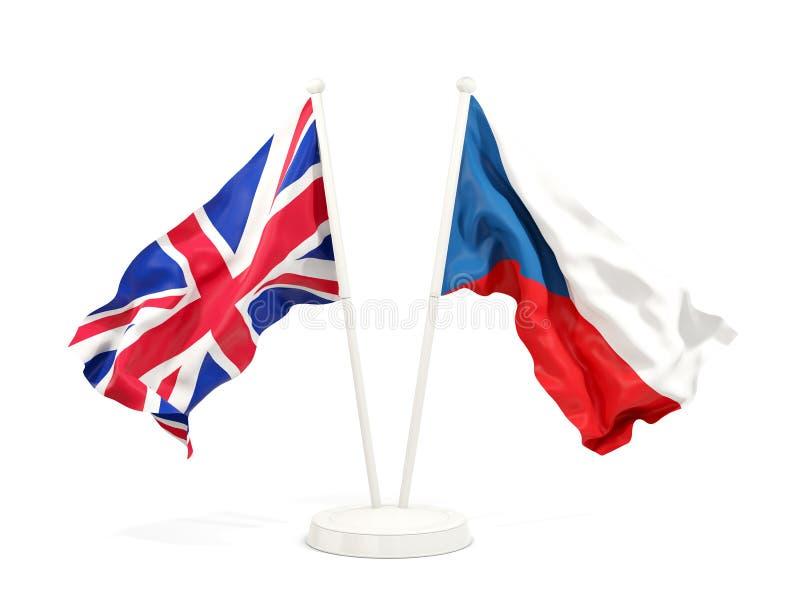 Deux drapeaux de ondulation de République Tchèque BRITANNIQUE et illustration libre de droits
