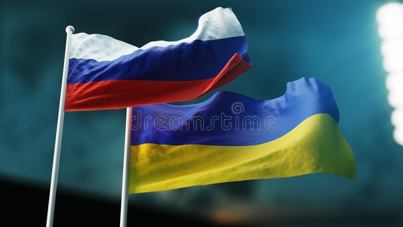 Deux drapeaux ondulant sur le vent Concept international de relations La Russie, Ukraine illustration de vecteur