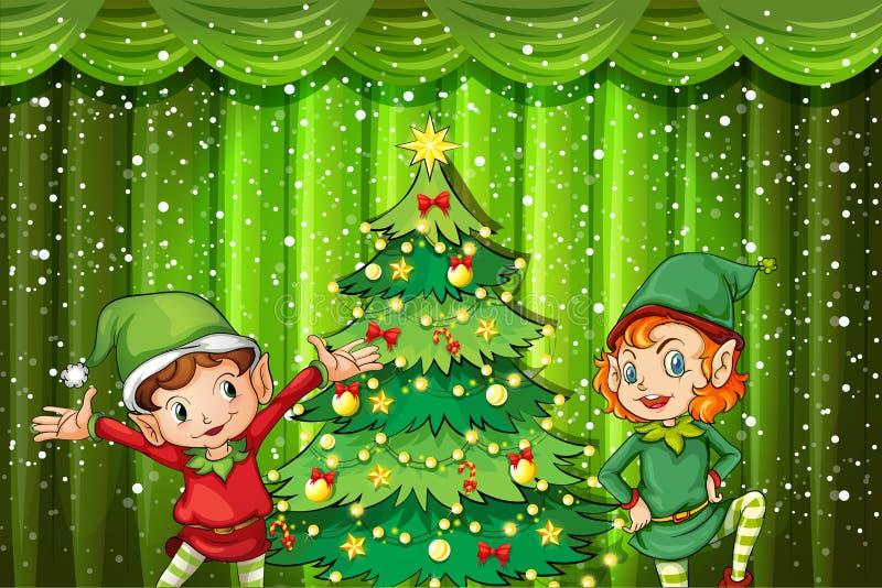 Deux elfes près de l'arbre de Noël illustration stock