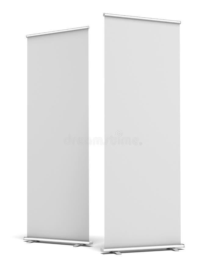 Deux en blanc enroulent la bannière d'affichage illustration libre de droits