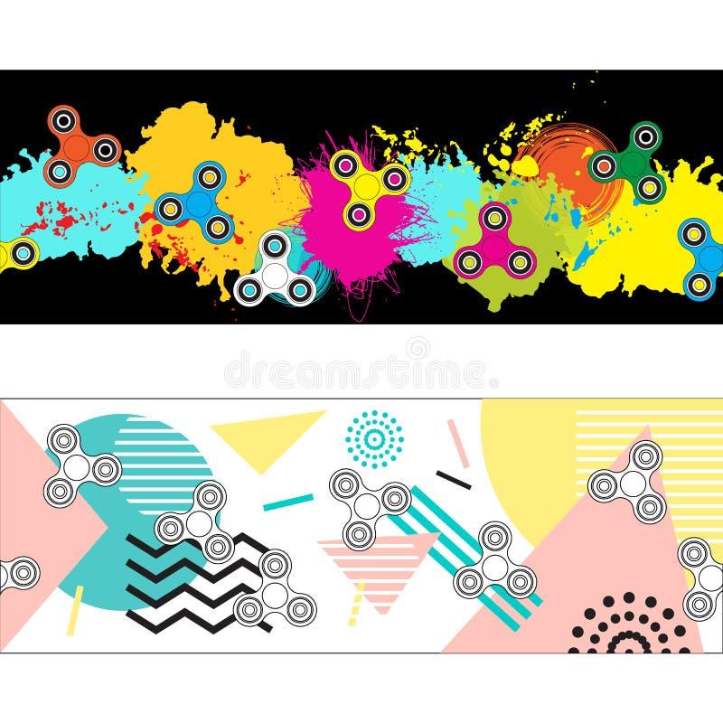 Deux en-têtes abstraits avec des fileurs de personne remuante pour vous conception de site Web illustration de vecteur