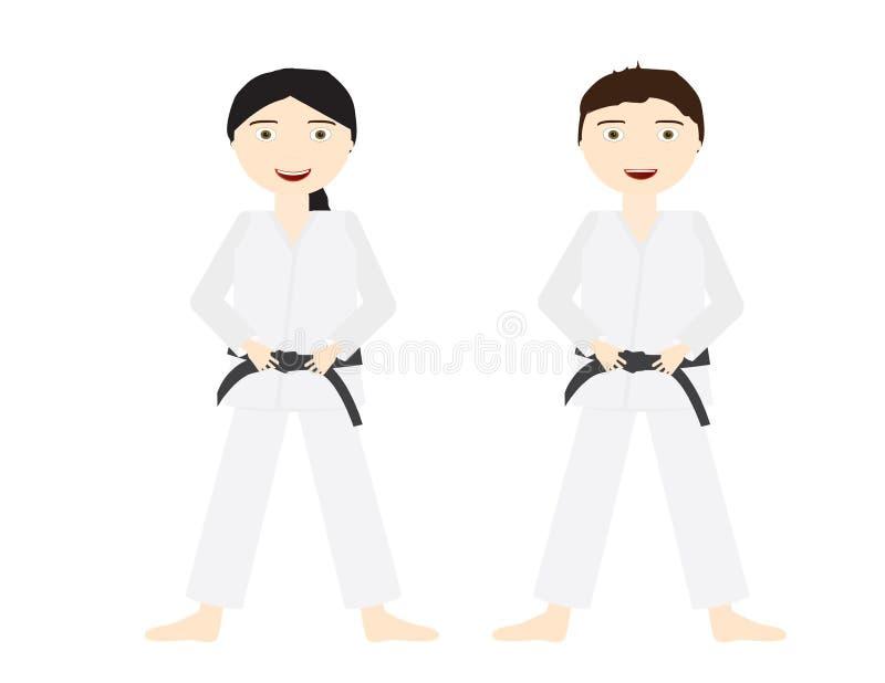 Deux enfants avec les uniformes blancs de judo et les ceintures noires illustration de vecteur