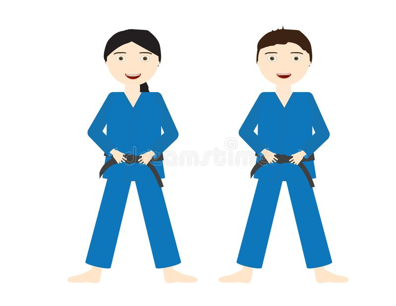 Deux enfants avec les uniformes bleus de judo et les ceintures noires illustration stock