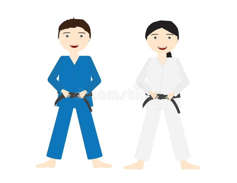 Deux enfants avec les uniformes bleus et blancs de judo et la ceinture noire illustration de vecteur