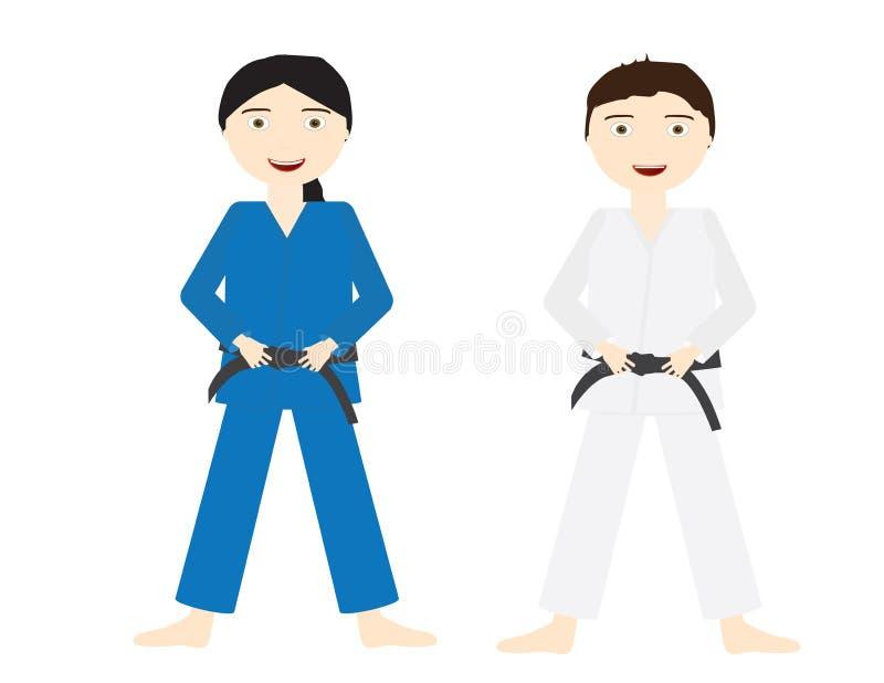 Deux enfants avec les uniformes de judo et la ceinture noire illustration stock