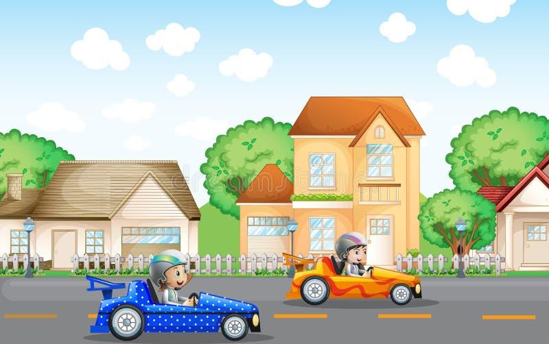 Deux enfants dans l'entraînement de voiture de course dans le voisinage illustration libre de droits