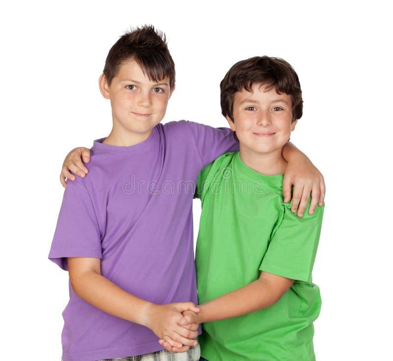 Deux enfants drôles photos libres de droits