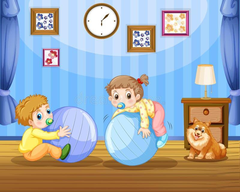Deux enfants en bas âge sur de grandes boules illustration de vecteur