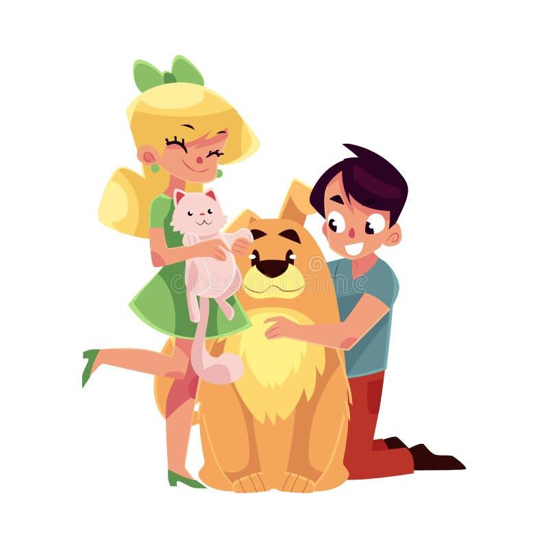 Deux enfants - fille tenant le chat, chaton, garçon étreignant le grand chien illustration stock