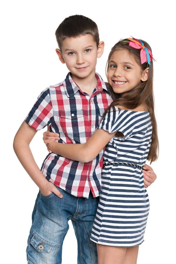Deux enfants gais photo stock