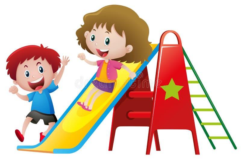 Deux enfants jouant sur la glissière illustration libre de droits