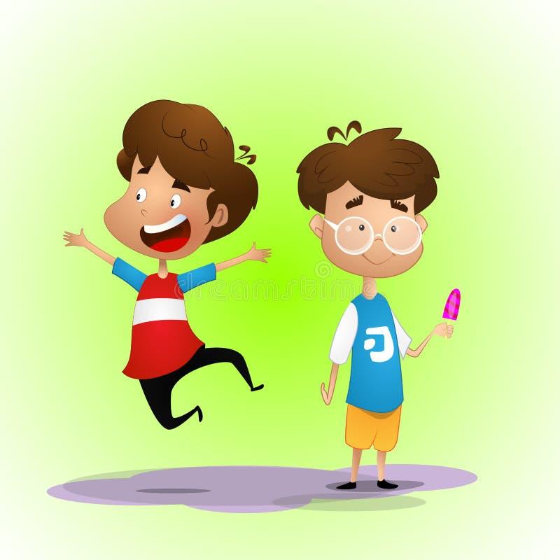 Deux enfants, l'un d'entre eux saut illustration de vecteur