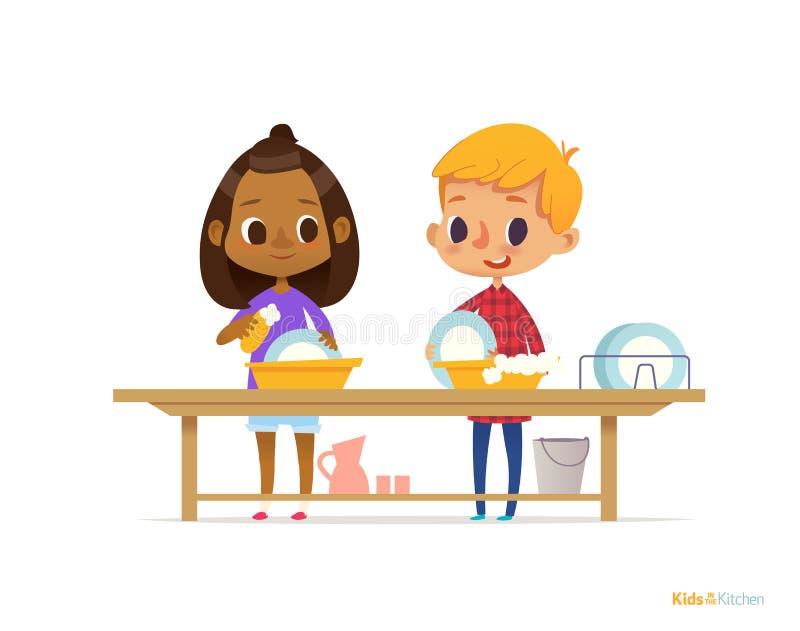 Deux enfants multiraciaux heureux lavant des plats d'isolement sur le fond blanc Enfants nettoyant la vaisselle Éducation s'engag illustration de vecteur