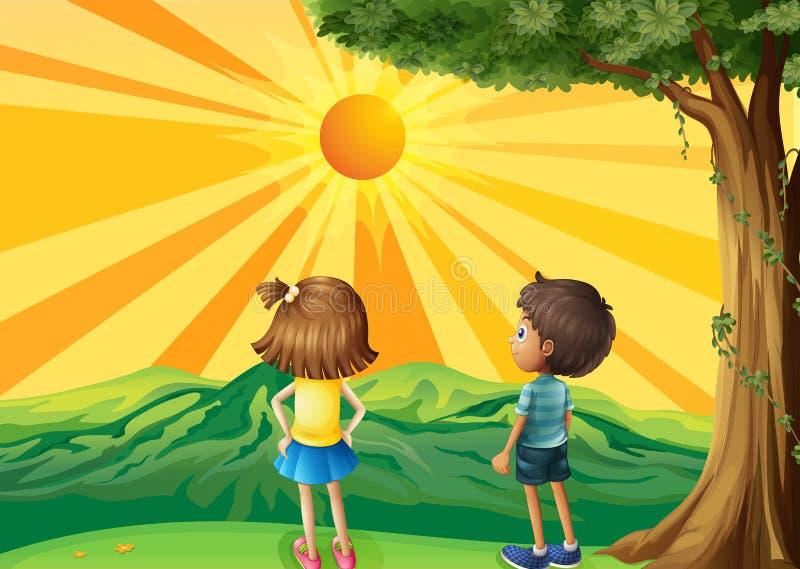Deux enfants observant le coucher du soleil illustration de vecteur