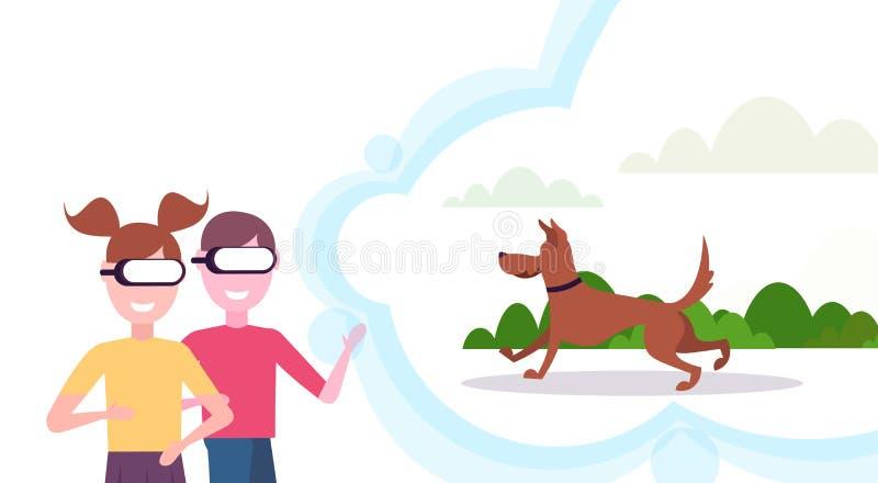 Deux enfants soeur et frère portant le chien numérique de réalité virtuelle en verre courant et jouant le casque extérieur de vis illustration de vecteur