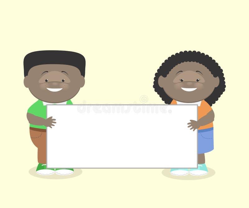 Deux enfants, un garçon et une fille, Afro-américain, gardent l'informati illustration libre de droits